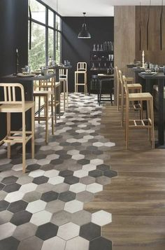 interior design decor trends 2017 tiles floor in dining room hexagon floor The Effective Pictures We Offer You About granite flooring A quality picture can tell you many things. You can find the most Flooring, Cafe Design, House Design, House Interior, Decor Design, Restaurant Design, Trending Decor, Tile Design, Floor Design