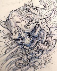 Friday night sketching. #sketch #illustration #drawing #irezumi #tattoo #asiantattoo #asianink #chronicink #irezumicollective #hannya #snake