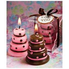 Pink and Brown Wedding Cake Candle Favor