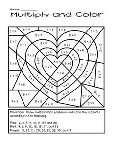 Valentine's Day Multiply and Color Activity by The Busy Class Valentines Day Activities, Holiday Activities, School Holidays, School Fun, Math Classroom, Classroom Activities, Third Grade Math, Homeschool Math, Color Activities