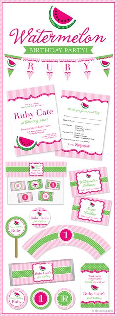 Watermelon theme party - so sweet for a summer birthday! Invitations, water labels, stickers, DIY printables & more from #Chickabug