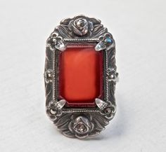 Art Deco Ring Red Carnelian Sterling Silver by TheJewelryChain