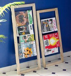 Biblioth que ou porte revues faite avec des palettes verticales biblioth qu - Porte revue pas cher ...
