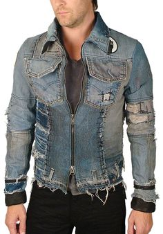 "Men's JUNKER - ""THE MICHAEL JACKET"" in Vintage Distressed Denim"