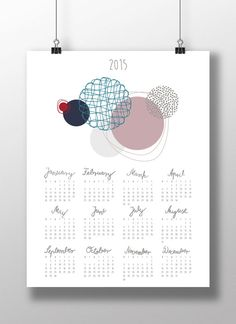 Beautiful contemporary wall calendar for 2015 with calligraphy for instant download. $3.99 https://www.etsy.com/listing/213395232/diy-printable-calendar-2015?ref=shop_home_active_5