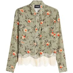 The Kooples Printed Silk Blouse (12.450 RUB) ❤ liked on Polyvore featuring tops, blouses, multicolored, silk top, boxy tops, floral tops, flower print top and green floral top