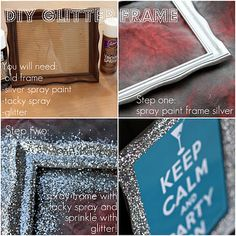 DIY glitter frame for table numbers. Get old frames from yard sales & use glitter spray paint! Glitter Picture Frames, Glitter Frame, Glitter Pictures, Glitter Letters, Glitter Backdrop, Glitter Photo, Glitter Cardstock, Spray Paint Frames, Glitter Spray Paint