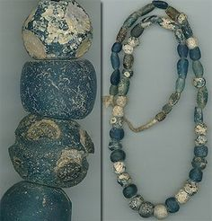 Love these old Djenne, Mali beads.  Most of the eyes have long since disappeared -- but they are still beautiful.  Very rare!    $575