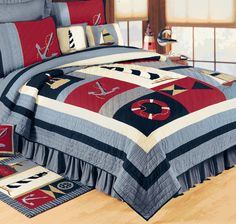 Nautical Comforter Set Special Offers Available Click Image Above Full Queen Isle Nautical Quilt Nautical Quilt Bedding Sets Nautical Quilt, Nautical Bedding, Nautical Theme, Unique Bedding, Nautical Colors, Beach Comforter, Comforter Sets, Twin Quilt, Quilt Bedding