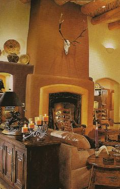 This Rumford fireplace was built in a classic pueblo style home in ...