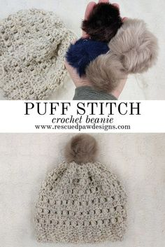 Crochet Puff Stitch Beanie - Free Pattern by Rescued Paw Designs. Click to Read or Pin and Save for Later! www.rescuedpawdesigns.com via @rescuedpaw