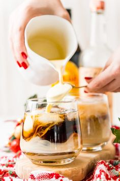 This Eggnog White Russian is a fun holiday twist on the classic vodka cocktail! Made with eggnog, coffee liqueur, vodka, and a dash of nutmeg! Classic Vodka Cocktails, Eggnog Cocktail, Spiked Eggnog, Winter Cocktails, Christmas Cocktails, Cocktail Recipes, Drink Recipes, Kahlua Recipes, Punch Recipes