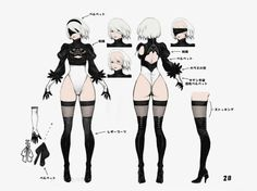 NieR:Automata Concept Art Gallery Gallery of captioned artwork and official character pictures from NieR:Automata. Female Character Concept, Character Model Sheet, Character Modeling, Character Art, Neir Automata, Concept Art Gallery, Accel World, Poses References, Estilo Anime