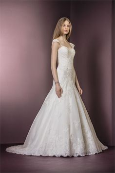 Stunning fit and flare lace wedding dress from Ellis Bridals. Style - 11479