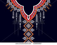 Geometric Ethnic oriental pattern traditional .Floral necklace embroidery design for fashion…