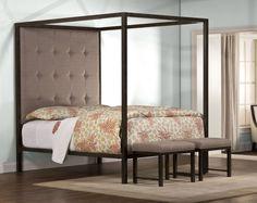 Metal 4 Poster Canopy Bed Upholstered Headboard Rails Frame Bedroom Furniture
