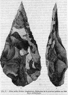 """Catalogue collectif Préhistoire catalogue › Détail de : Silex taillé, Hoxne (Angleterre). Réduction de la gravure publiée en 1800 dans """"Archaeologia""""."""