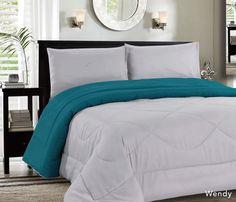 Down Alternative Reversible Comforter Grey/Aqua - Quality House
