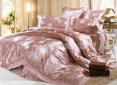 華やかなスモーキーグレーフラワーシルク4点寝具セット