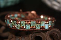 Turquoise Leather Wrap Bracelet Picasso Tila by BohoSoulJewelry