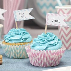 Write your own messages on these striking chevron cupcake toppers! 15 in a   pack in 3 pink, silver and mint green!    Great for any party, wedding or special occasion including summer parties! Great   for labelling the sandwich selection at your summer party!
