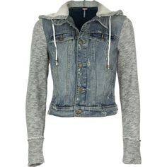 f20ab0b7273c28 Free People Denim Knit Jacket ( 89) ❤ liked on Polyvore featuring  outerwear