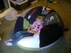 t-shirt bean bag chair. I soooo want to make a MASSIVE one.