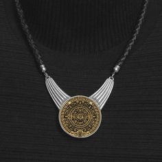Aztec Calendar Stone Antique Gold Finish Coin Medallion In Vintage Finish Festoon Setting on Premium Quality Leather Cord Necklace w/ 4 Cord Color & 5 Length Options