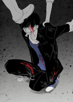 Im sick of getting beat up.just kill me alr'dy. Sad Anime, I Love Anime, Anime Art, Drawing Reference Poses, Drawing Poses, Kaneki, Ero Guro, Dark Anime Guys, Boy Illustration
