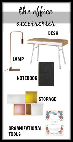 The 5 things you need in your home office work space- office accessories that are cute and functional. Home office decor