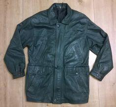 Men LEATHER Jacket Coat M Dark Green Soft & Shiny VINTAGE 6 Pockets Zip Buttons