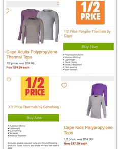Want to wear layers to stay warm without adding bulk? Anaconda have #halfprice on thermal wear  by Cape (polypropylene) and Cederberg. #onsale until 13/7/16 @anacondastores . . . . #anaconda #thermals #staywarm #polypropylene #winterwear #cape #cederberg #whypaymore #bargain #smartshopper #savversaver #jul16