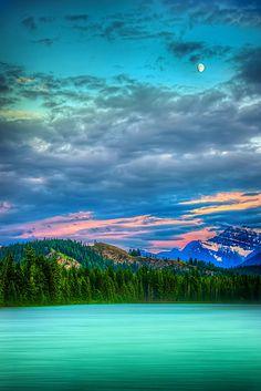 Dusk at Jasper, Alberta, Canada.  Moon is rising over Mt. Edith Cavell.