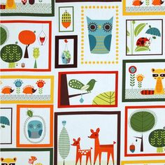 Critter Community in Bermuda by Suzy Ultman for Robert Kaufman Fabrics. Perfect for a quick kids quilt. Owl Fabric, Retro Fabric, Novelty Fabric, Blue Fabric, Cotton Fabric, Orange Fabric, Pattern Fabric, Vintage Fabrics, Quilt Pattern