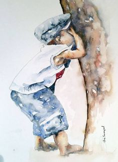 """Ready or not here I come"" – by the South African artist Arie Swanepoel - ART Watercolor Painting Watercolor Pictures, Watercolor Artists, Watercolor Portraits, Watercolor Paintings, Watercolours, Painting Illustrations, Painting Art, South African Artists, Painting People"