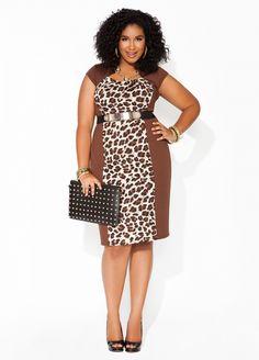 Ashley Stewart Ponte Animal Print Sheath Dress