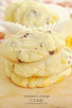 Cranberry Orange Cookies - light & crunchy with a delicious, sweet citrus flavor!
