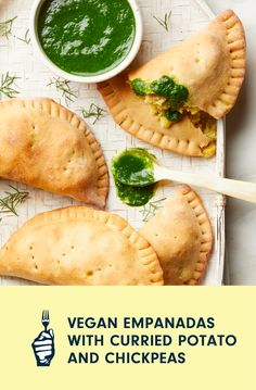 Empanadas are wonderful for entertaining because the deliciously flaky turnovers are easy to serve and can be eaten out of hand—no silverware required. These vegan empanadas are stuffed with a spicy mashed potato-chickpea combination and paired with a bright green spinach sauce that can be either drizzled over the empanadas or served in a bowl for dipping. When rolling out the dough, flour both the work surface and the top of the dough pieces to keep the circles from sticking. Loaded Baked Potatoes, Mashed Potatoes, Vegan Casserole, Chickpea Curry, Curry Powder, Work Surface, Dry Yeast, Vegan Baking, Empanadas