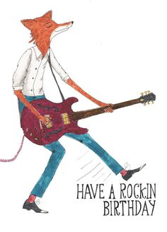 Fox Happy Birthday Card Music Card Guitar Rock and by HutchCassidy