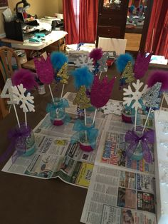 Elsa & Anna (frozen) center pieces. Easy and so much fun!