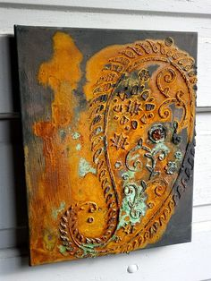 Canvas with Modern Masters rust and patina by KB Designs