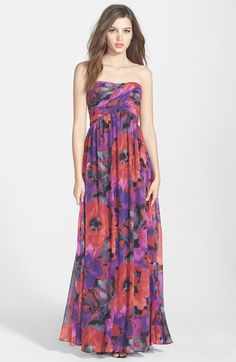 Hailey by Adrianna Papell Print Strapless Chiffon Gown available at #Nordstrom