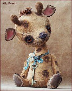 Von Alla Bären Vintage Giraffe Künstler alte Teddybär von AllaBears
