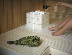 Integrated Nuoska sauna heater is made of ceramic.
