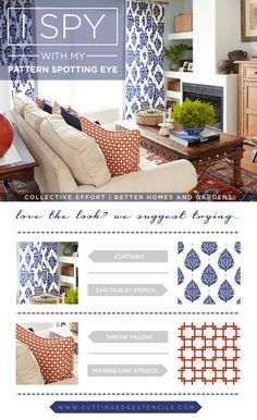 Stenciled DIY projects to recreate these designer looks using Cutting Edge Stencils! http://www.cuttingedgestencils.com/stencil-missing-link-geometric.html