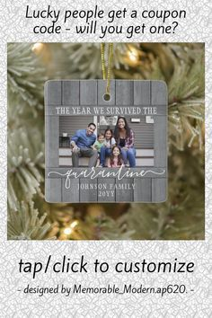 Any Text 2 Photo We Survived Quarantine Faux Wood Ceramic Ornament - tap/click to personalize and buy #CeramicOrnament #2 #photo, #two #pictures, #funny, First Christmas, Christmas Cards, Christmas Ornaments, Modern Farmhouse Decor, Rustic Decor, Johnson Family, Realtor Gifts, Tree Designs, House Warming