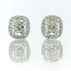 Cushion Cut Diamond Stud Earrings. Diamonds are a girls best friend!