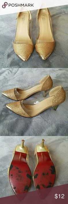 Gold glitter kitten heels So many cute details on these kitten heels! Gold glitter with clear panels, gold toe caps, and red bottoms! Lower heel height is great for walking and dancing. Shoes