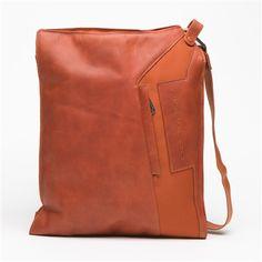 Piquadro leather & fabric shoulder bag in orange