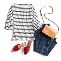 Love this top! It is exactly my style,I love blue striped tops. Don't really like the shoes though. Stitch Fix Outfits, Outfits With Striped Shirts, Business Casual Outfits For Women, Stitch Fix Stylist, Work Wardrobe, Fashion Advice, Skirt Fashion, Spring Summer Fashion, Mac